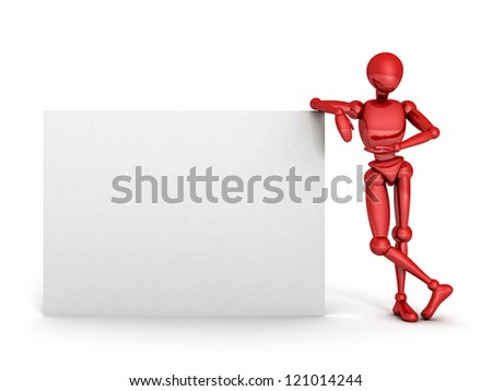 red 3d person holding a blank white board