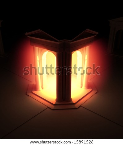 Red 3d Portico Illumination, vertical