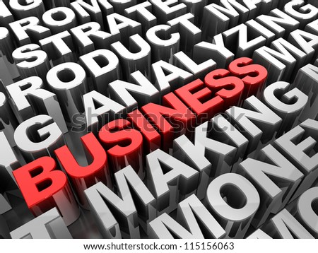 Red 3d �¢??text business in the center of grey words