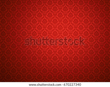 Red damask wallpaper with floral patterns