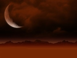 Red Dark extraterrestrial fantasy outer Desolation planet, Rocky moon orange Smokey sky