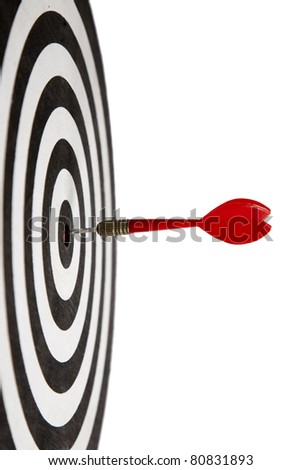 Red Dart hitting the middle of dartboard