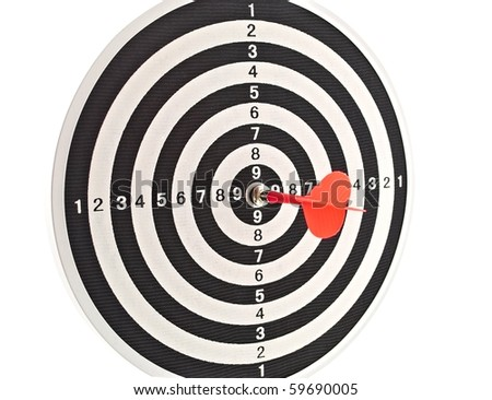 Red dart in center of target - stock photo