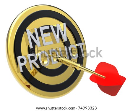 Red dart on a gold target with text on it. The concept of new product. Computer generated 3D photo rendering.
