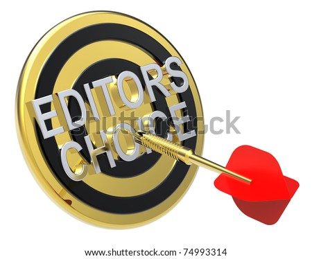 Red dart on a gold target with text on it. The concept of selecting a good product. Computer generated 3D photo rendering.