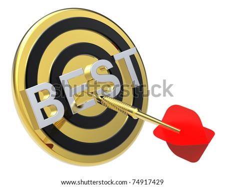 Red dart on a gold target with text on it. The concept of the best reviews and best choice. Computer generated 3D photo rendering.