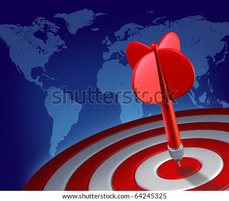 red dart on red target global world economy success business bull's-eye ideas aiming map symbol prediction forecast stock picks