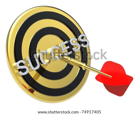 Red dart on the gold target with success text on it. Computer generated 3D photo rendering.