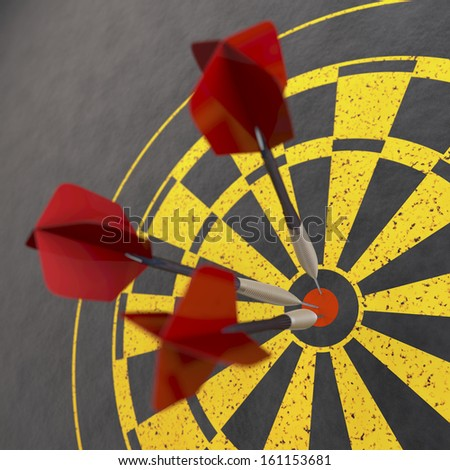 Red darts sticking in dart board, 3d rendering on grey background