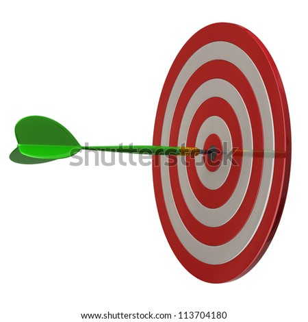 Red darts target aim and arrow at the center 3d
