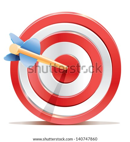 Red darts target aim and arrow. Successful shoot ストックフォト ©