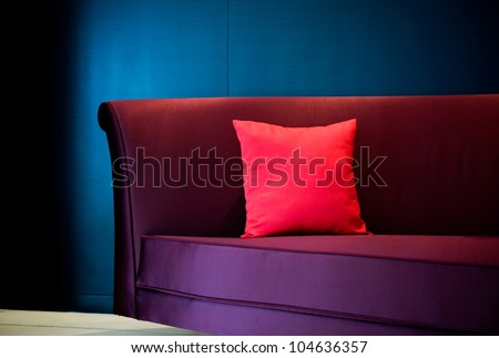 Red decorative pillow on a contemporary sofa.
