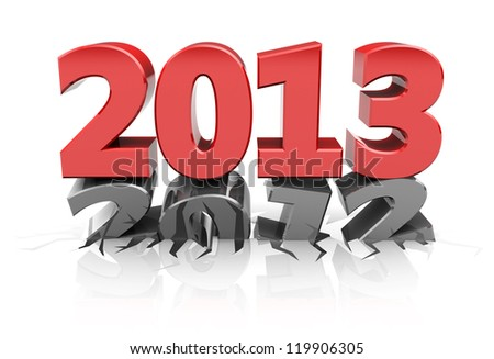 Red 2013 dent number 2012, new year concept