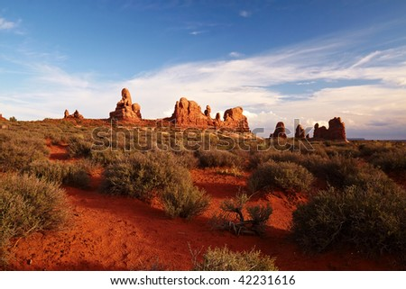 Red Desert at Sunset, Arches National Park, Utah, USA