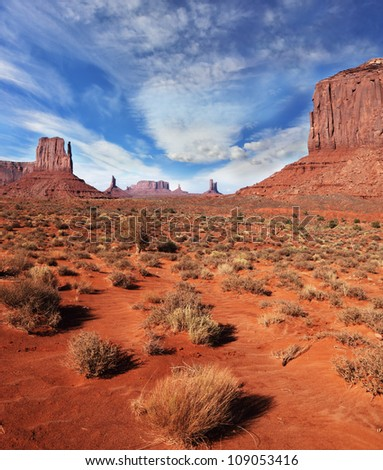 Red Desert. The famous cliffs Mittens in Monument Valley. Navajo Reservation in the U.S