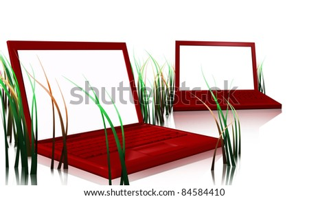red designer laptops that looks like pc with green grass and white screens