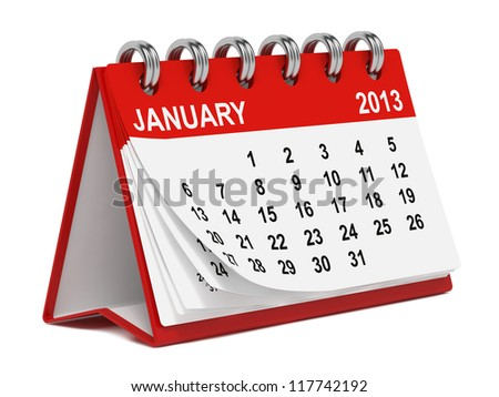 Red Desktop Calendar for 2013 on White Background