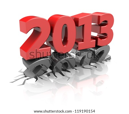 Red 2013  destroy number 2012, new year concept