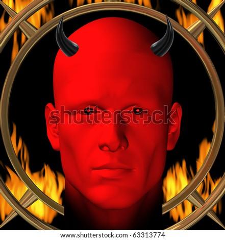 Red devil and hellfire flames. Digital 3d illustration.