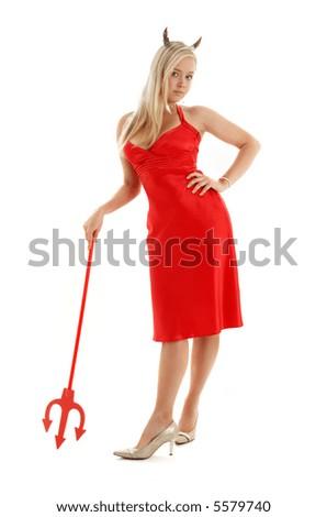 red devil girl in fancy dress over white background