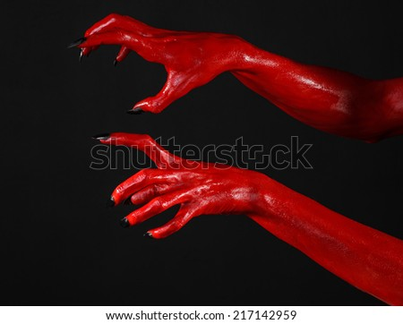 red devil s hands red hands of satan halloween theme black