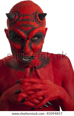 Red devil, white background.