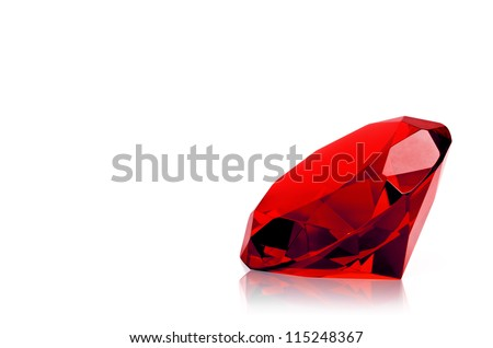 Red diamond  isolated on white background. Concept most precious beauty.