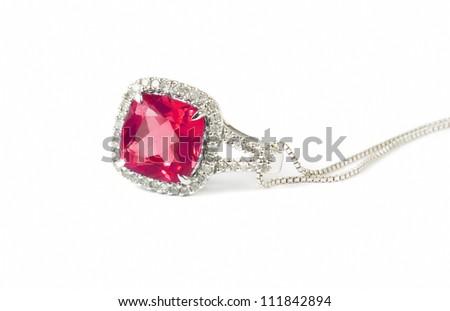 red diamond necklace closeup