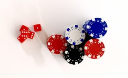 Red dice and casino chips from above. Dice and color chips over white background. Online casino concept.