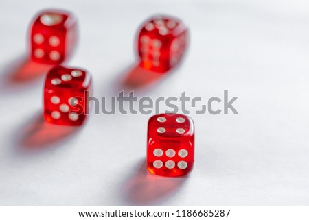 Red dice concept for business risk, chance, good luck or gambling on white background #1186685287