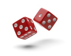 Red Dice in Air Rolling with Shadows Isolated on White Background.