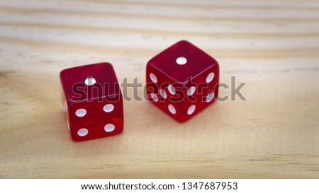 Red dice isolated on a white background #1347687953