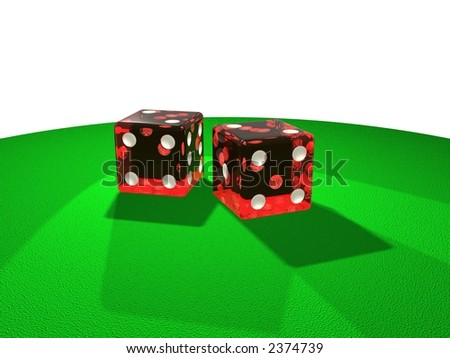Red dice on green floor