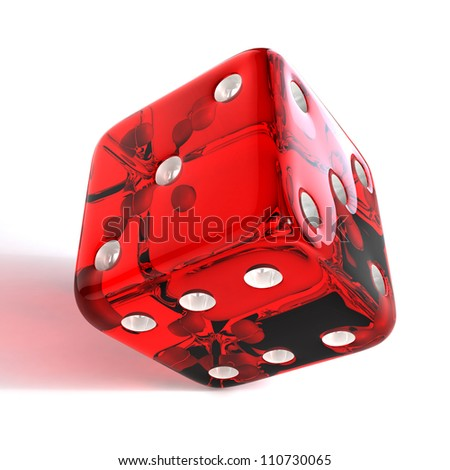Red dice on white background. 3D illustration of gambling