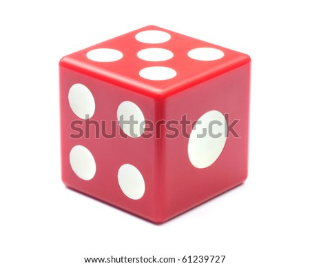 Red dice over white background