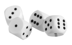 Red dice pile, multiple dices isolated on white background, clipping path