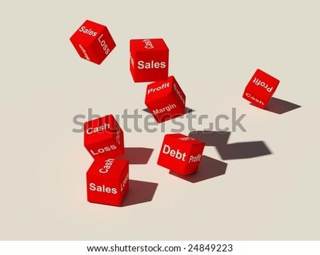 Red dice tumbling on a white surface - stock photo