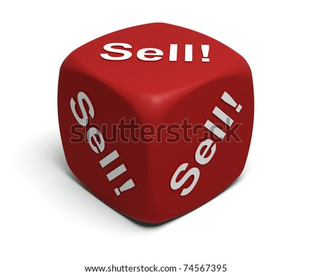 Red Dice with every seller's motto Sell! Sell! Sell!