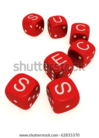 "Red dice with labeled ""success"" on the upper plane"