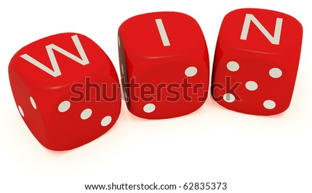 "Red dice with labeled ""win"" on the upper plane"