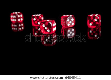 Red dices isolated with reflection