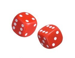 Red dices on white background.Throwing dices.