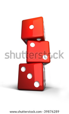 red dices pile up together