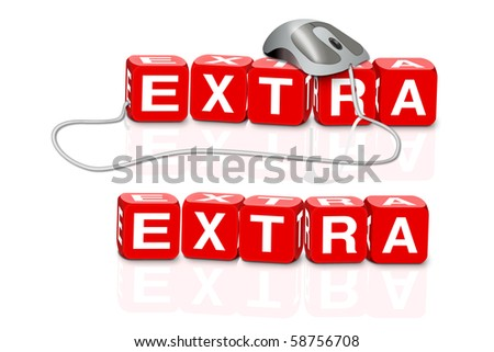 red dices spelling the word extra with or without mouse