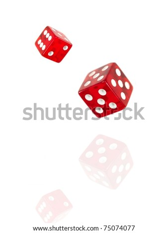 Red die isolated against a white background