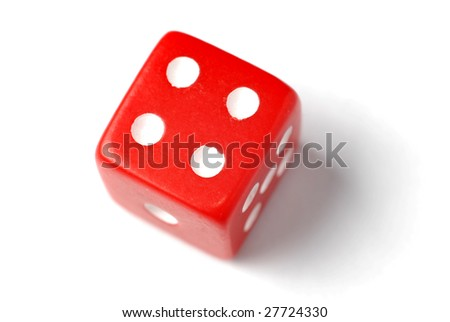 Red Die on White - Four at top - Similar images of 1-6 exists