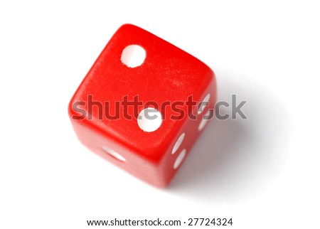 Red Die on White - Two at top - Similar images of 1-6 exists