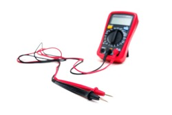 Red digital multimeter with probes on white background - Multimeter is an electronic measuring instrument for voltage, amper, resistance