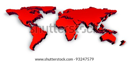 Red Dimensional 3D Wold Map with USA Europe Africa the Americas and Asia as an international symbol of global communications and business based on a three dimension illustration of an earth model.