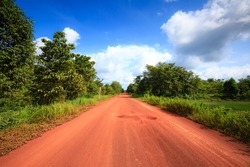 Red dirt road in the tropical jungle